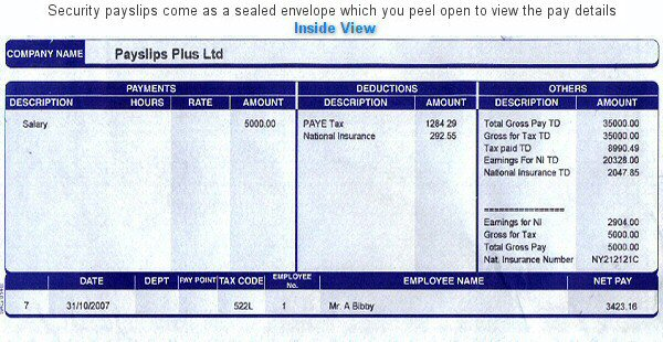 Security Blue Payslips
