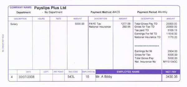 Standard RS22 Payslips