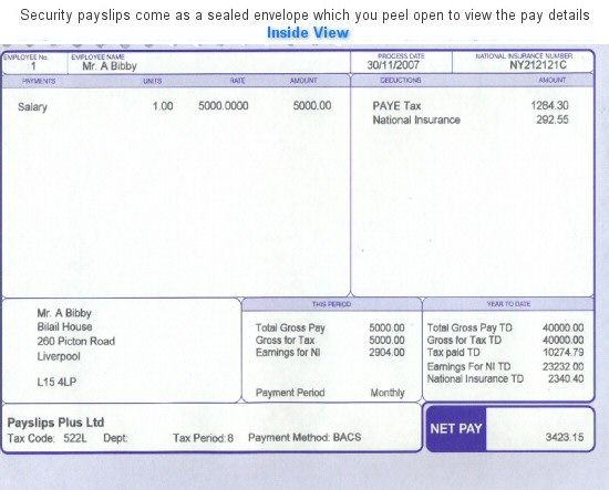 Plus Security White Payslips